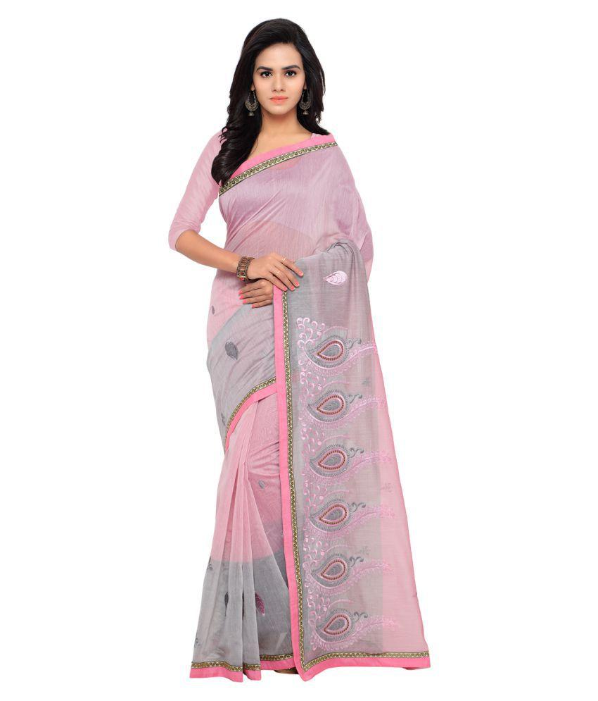Bunny Sarees Pink Cotton Saree