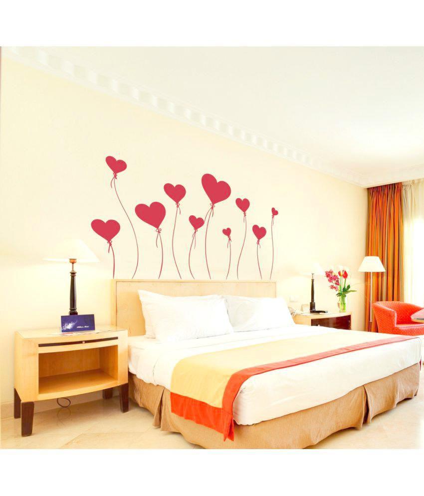 Decor Kafe Wall Sticker Heart Stickes Size 98x57cm Vinyl Red Wall
