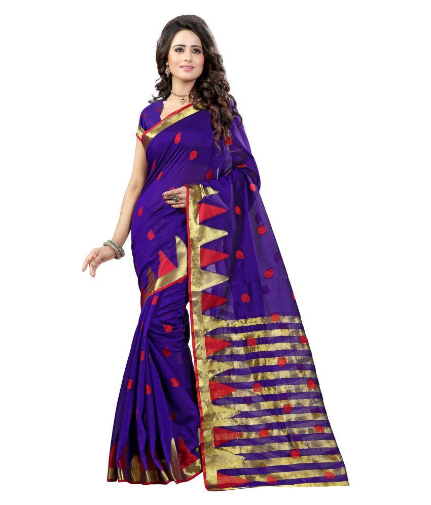 Fashions World Purple Tussar Silk Saree