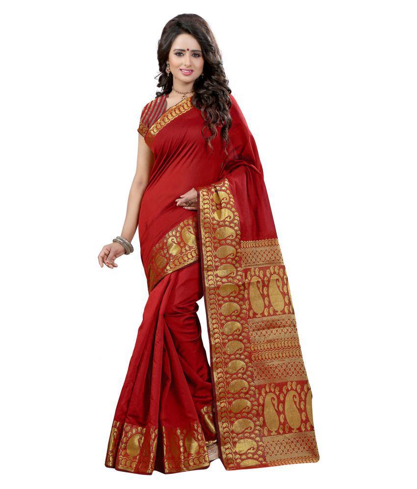 Fashions World Red Tussar Silk Saree