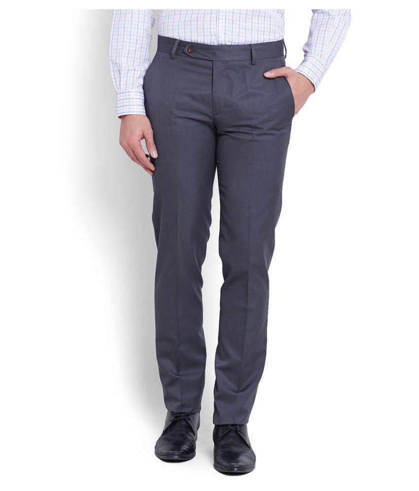 John Players Blue Slim Flat Trousers