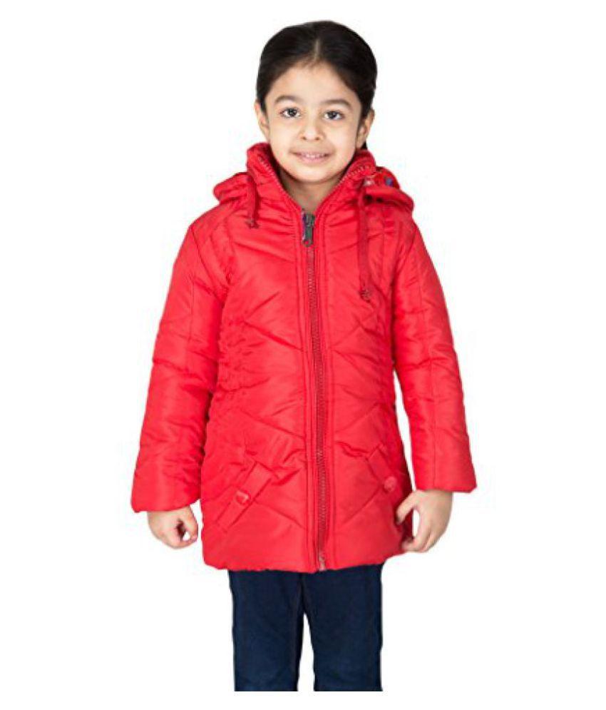 Asst Full Sleeve Hooded Regular Fit Polyester Solid Bomber Jacket for Girl's (10-11) Years