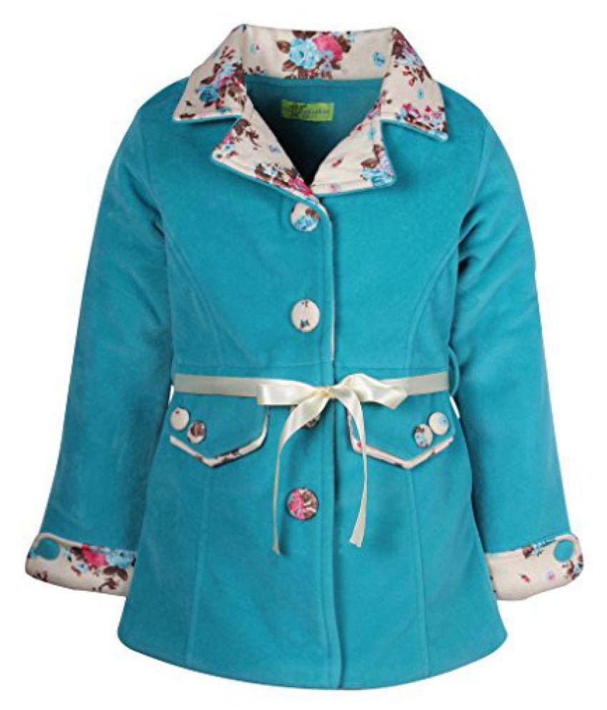Cutecumber Girls Polyester Embelished Turquoise Full Sleeve Jacket