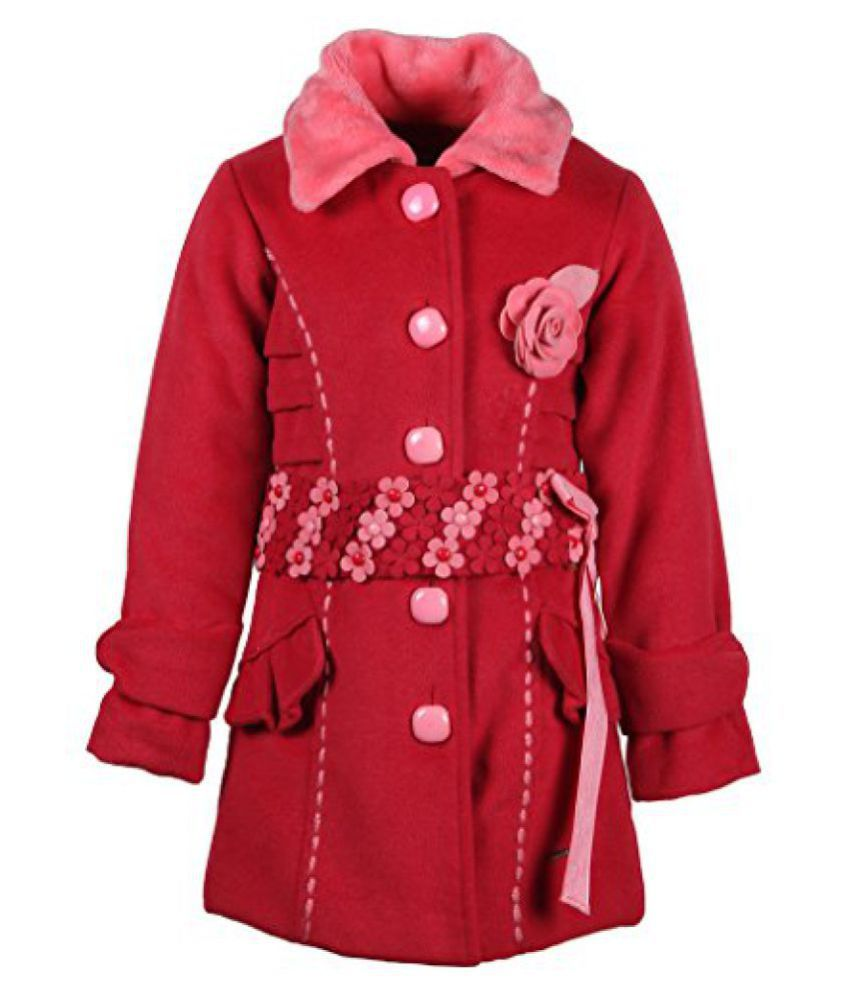 Cutecumber Girls Polyester Embellished Red Full Sleeve Jacket