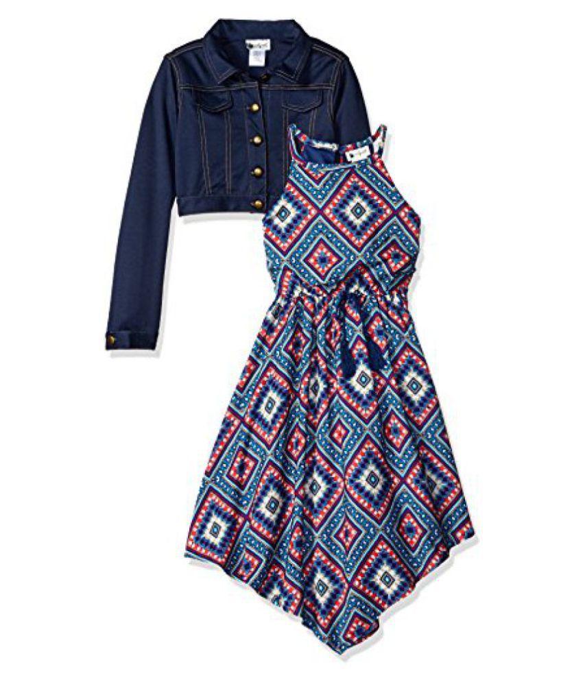 Emily West Big Girls' Diamond Print Challis Fashion Dress with Knit Denim Jacket