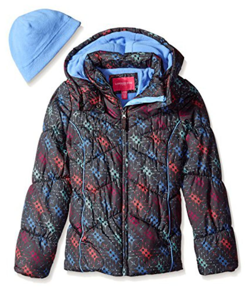 London Fog Little Boys' Printed Puffer Coat with Hat