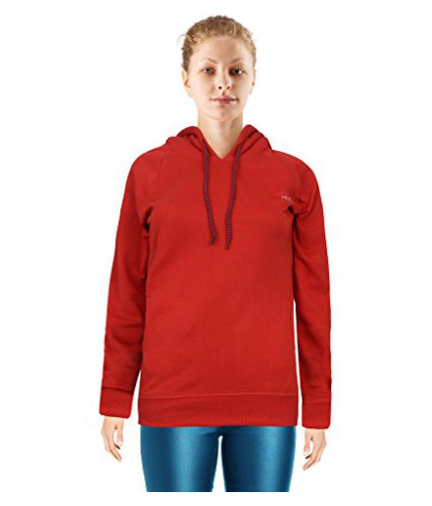 NGT Red Color Hooded Sweatshirt For Women in High Quality.