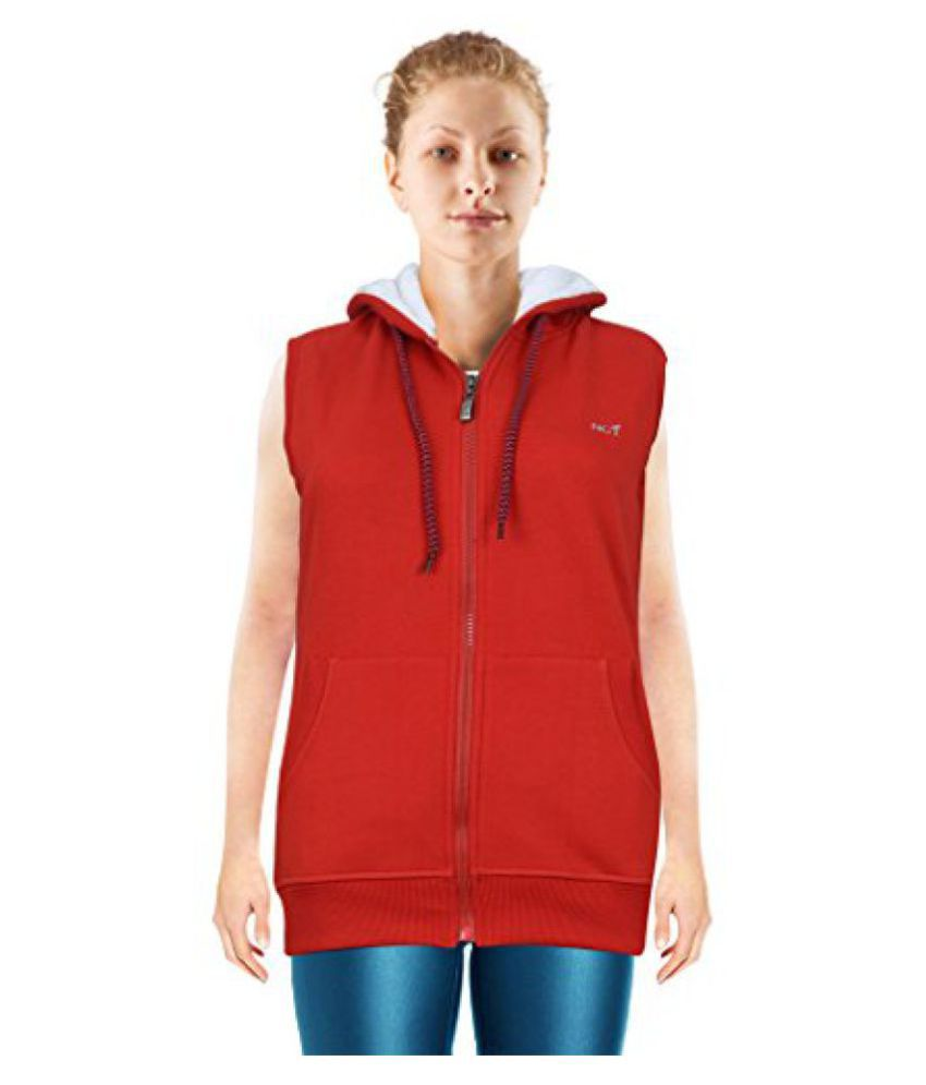 NGT Sleeveless Red Color Hooded Sweatshirt For Women in High Quality.