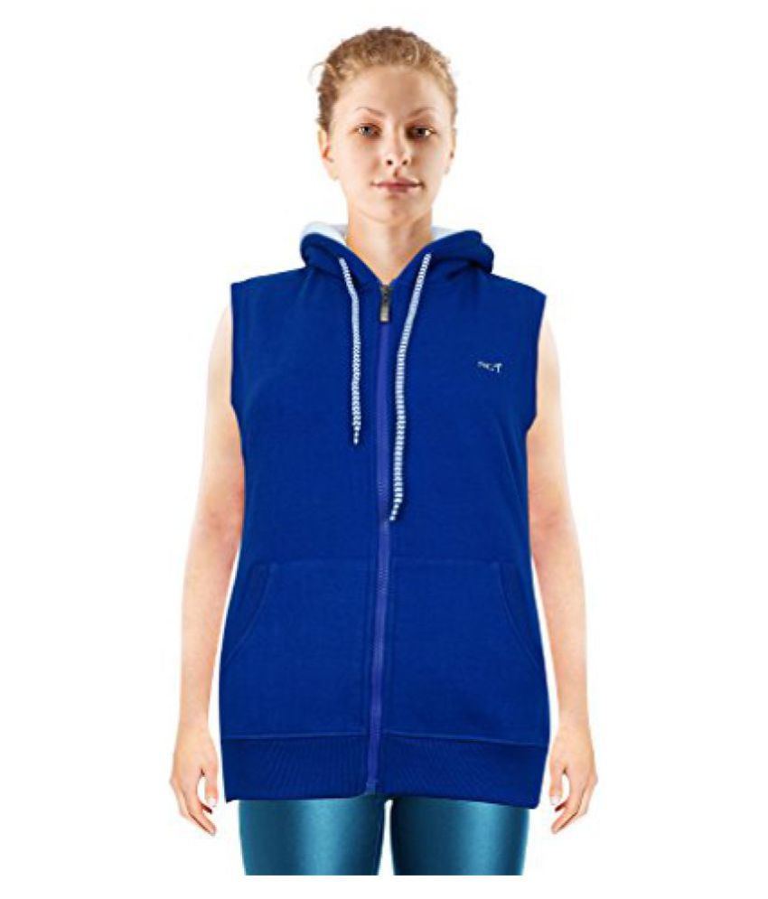 NGT Sleeveless Royal Blue Color Hooded Sweatshirt For Women in High Quality.