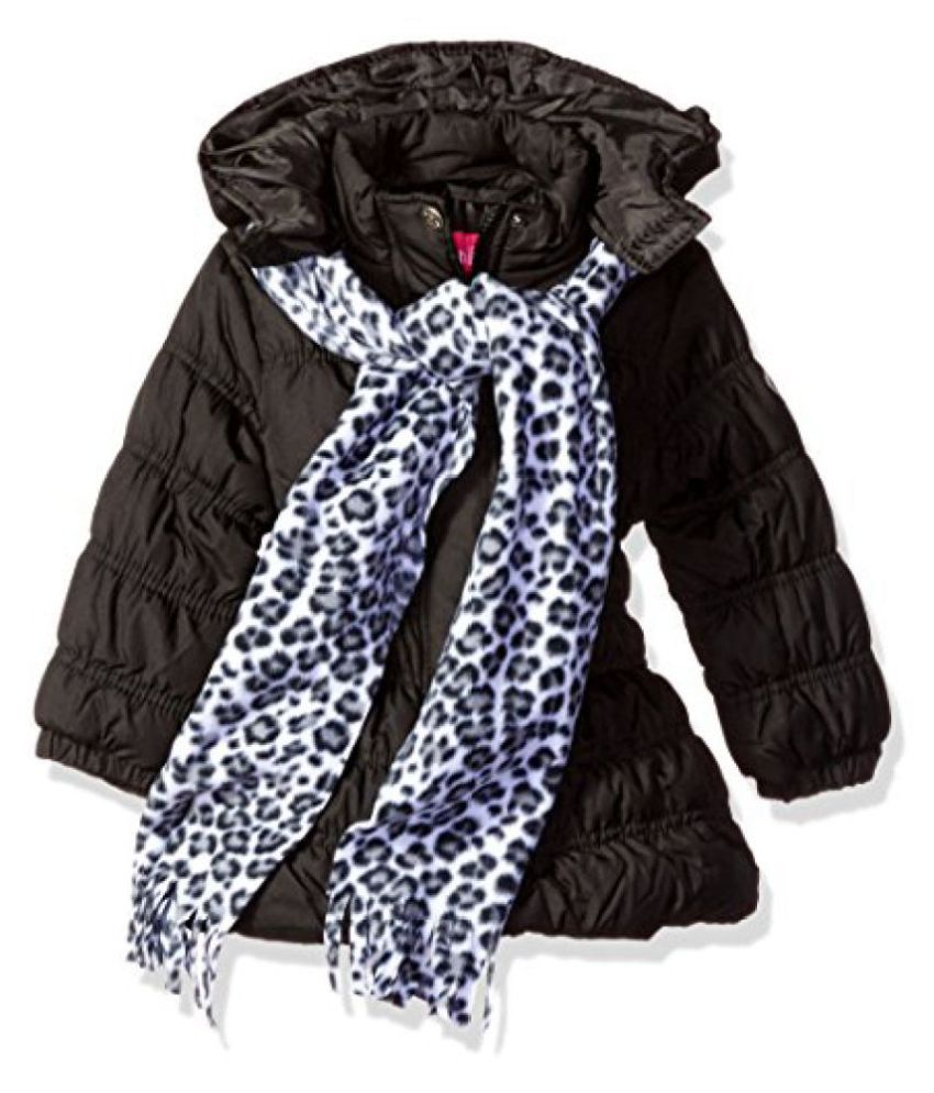 Pink Platinum Girls' Long Puffer Jacket with Accessories