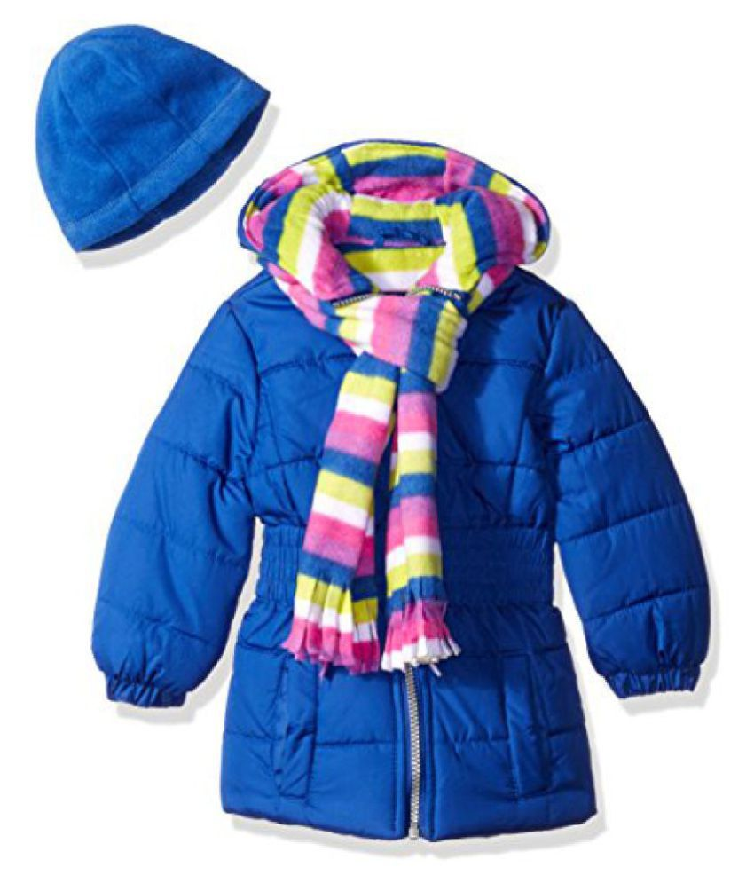Pink Platinum Girls' Puffer Jacket with Stripe Lining and Accessories