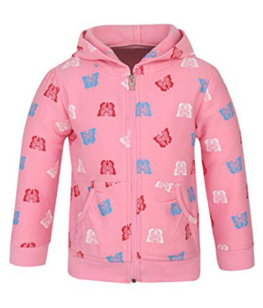 StyleStone Girls Pink Butterfly Printed Hoodie Jacket