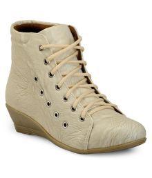 Marc Loire Beige Ankle Length Bootie Boots