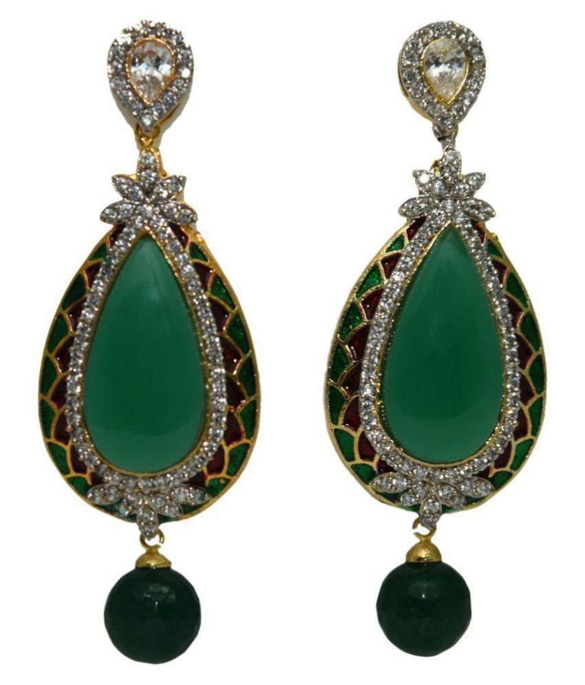 Bls Real Green Brass Drop Earrings