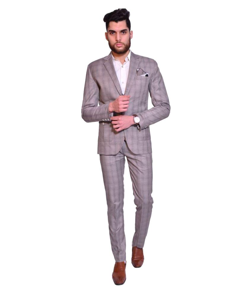 Manu Couture Grey Checks Party 3 Piece Suits