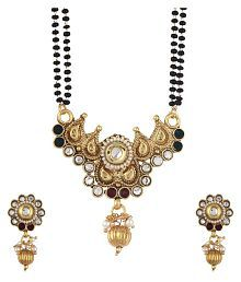 Zeneme Women's Pride American Diamond Gold Plated Mangalsutra Set with Chain for Women