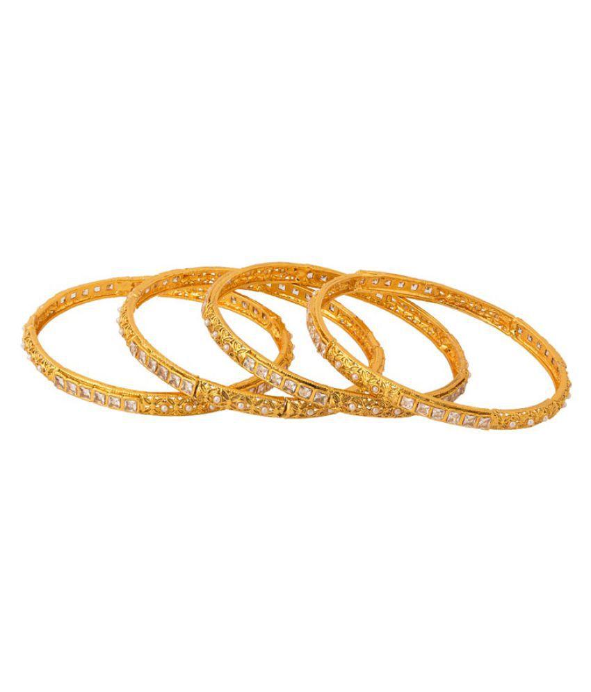 Voylla Golden Bangle Set - Set of 4