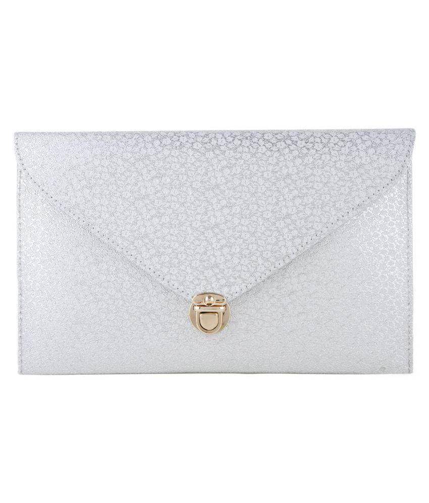 Style Villaz Silver Faux Leather Envelope