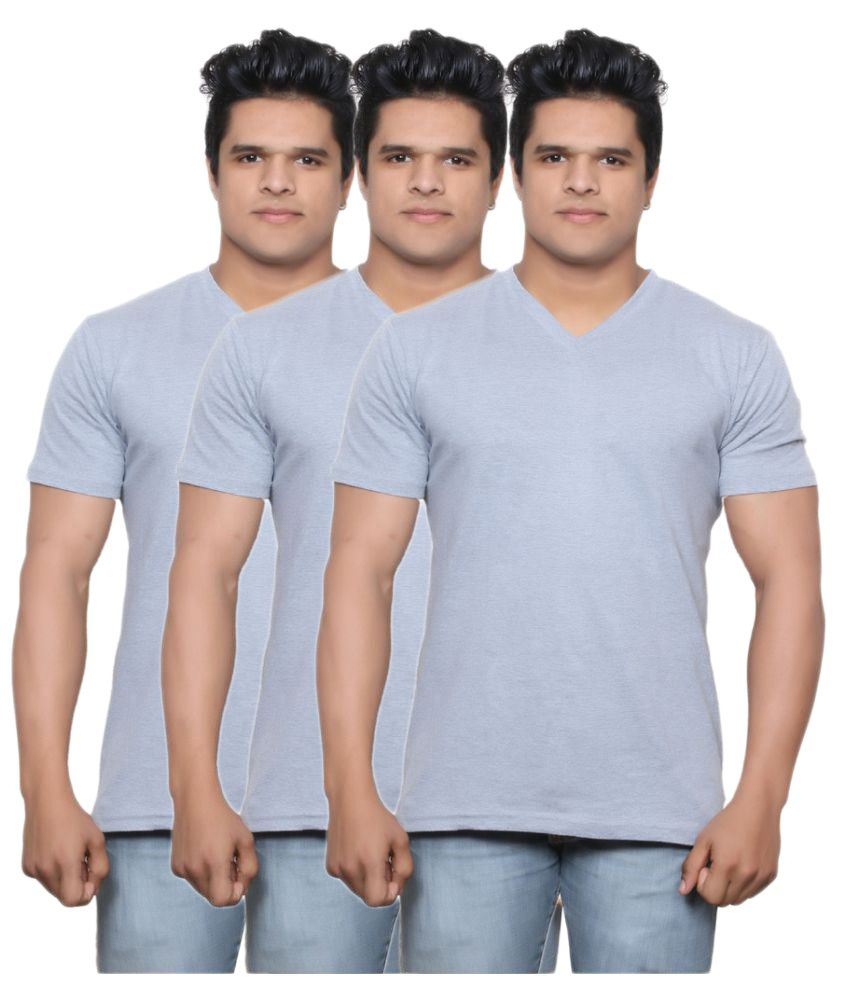 Indiweaves Grey V-Neck T-Shirt Pack of 3