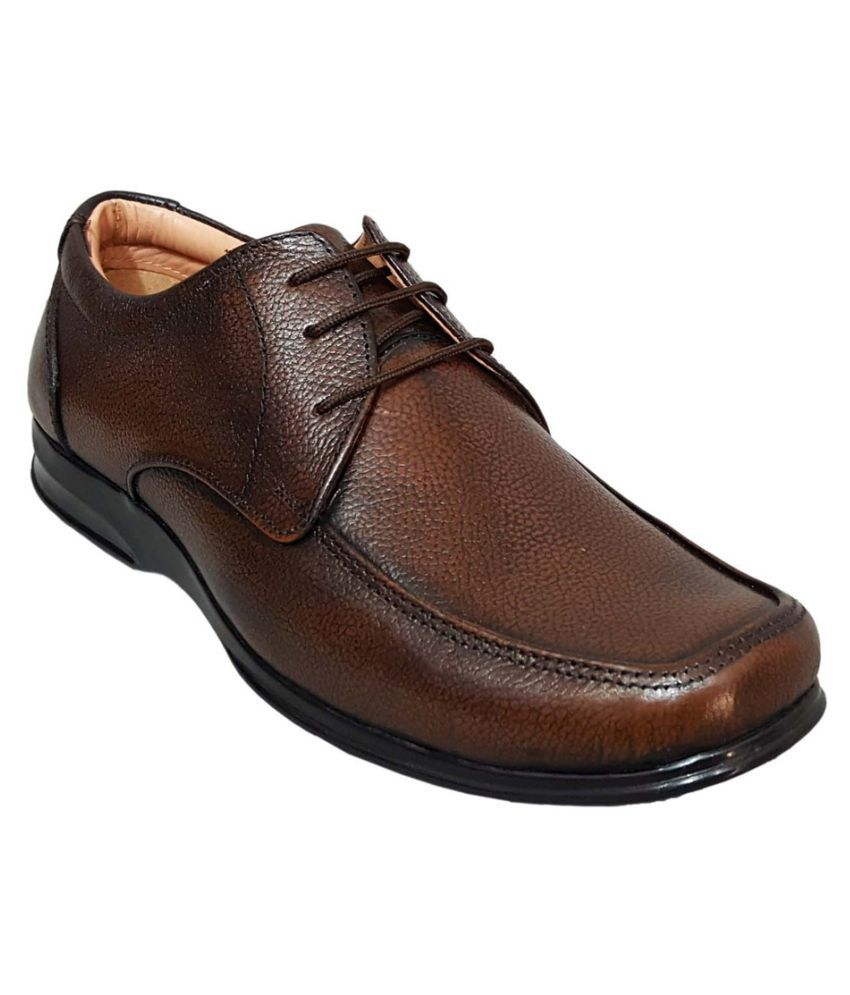 zoom brown derby genuine leather formal shoes price in