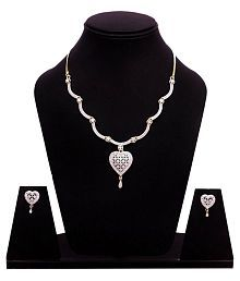 Sitashi Artificial Jewellery Stylish American Diamond Occasion Wear Pendent Necklace Set For Women