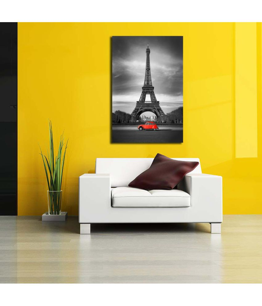 Pitaara Box Eiffel Tower And Old Red Car Paris PVC Vinyl Grey Wall ...