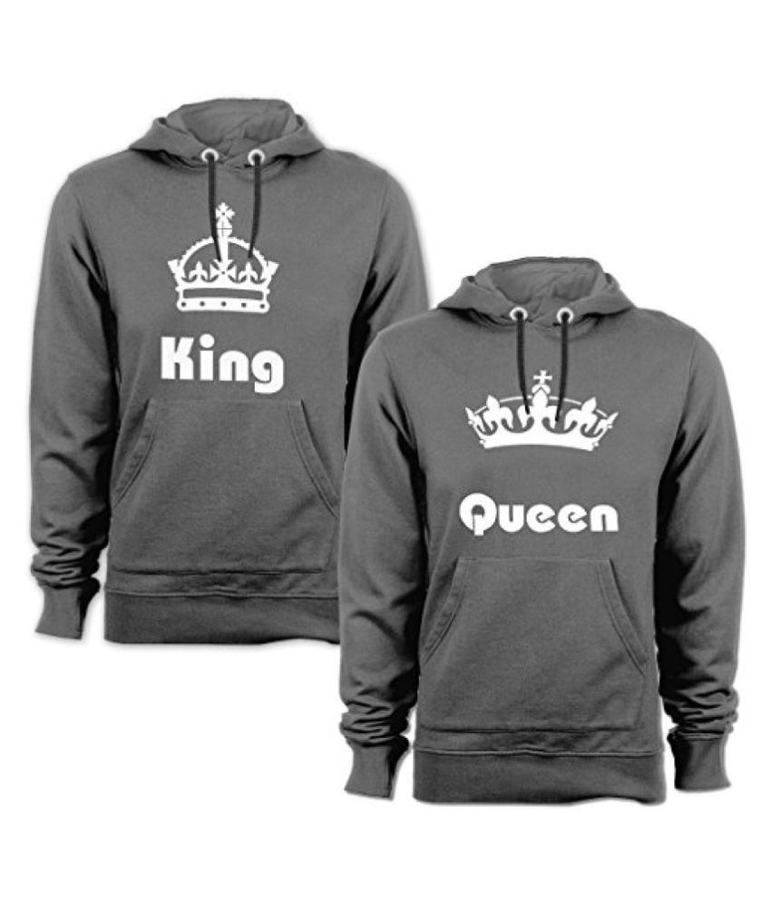 Anniversary Gifts, Wedding Gifts, Love Gifts, Gifts for Couples(KING-&-QUEEN) Drifit Regular Fit Round Neck Sweatshirt For Couple - Set of 2