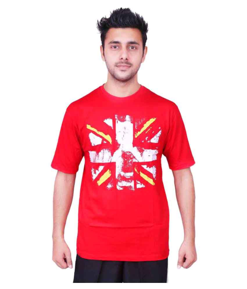 Vector X Printed VCC-001-A Men's Round Neck Red T-Shirt