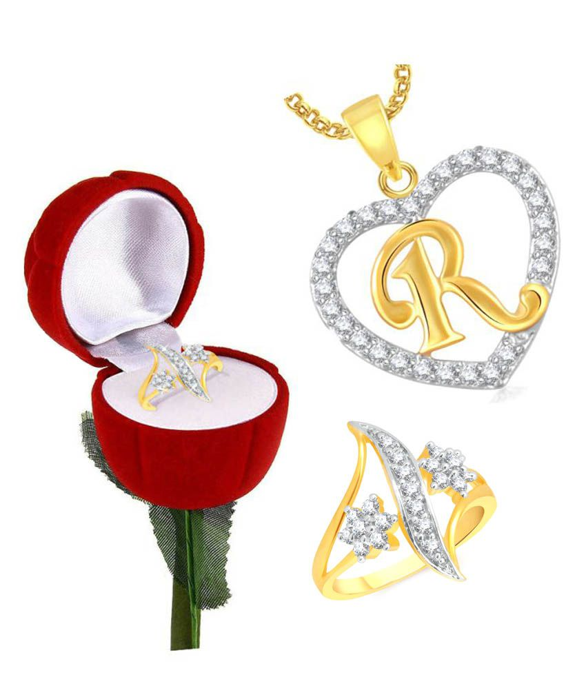 meenaz valentine gifts heart pendant with rings for girls with ring