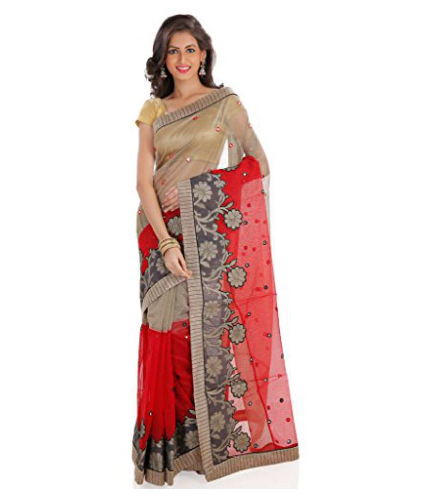 Shree Saree Kunj Red And Grey Designer Embroidered Party wear Saree available at SnapDeal for Rs.2990