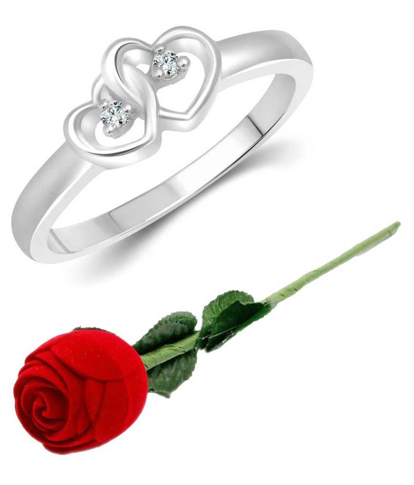 Vighnaharta Silver Ring with Red Rose Ring Box