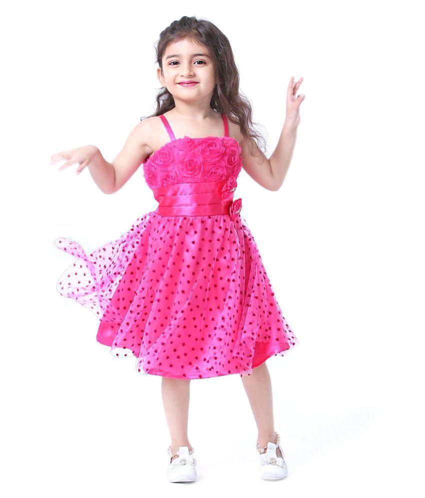 New Designer Pink Heart Hot Softnet Girls Party Wear Frock Dresses ...