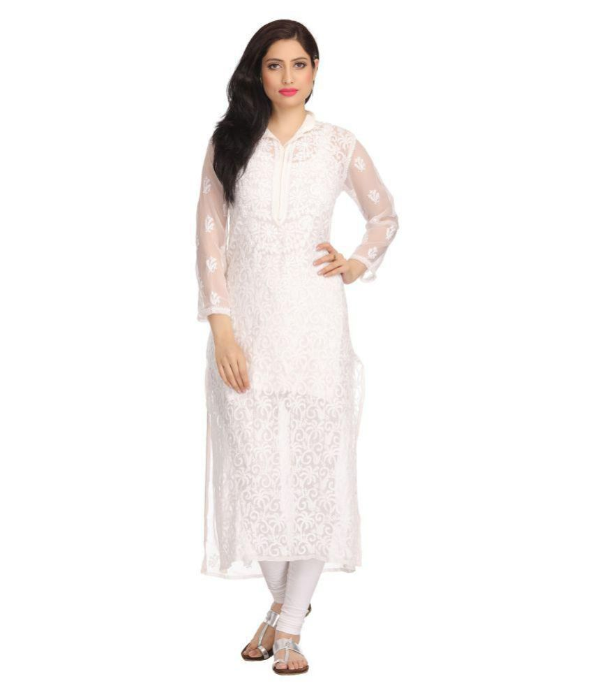 Ada White Georgette Straight Kurti