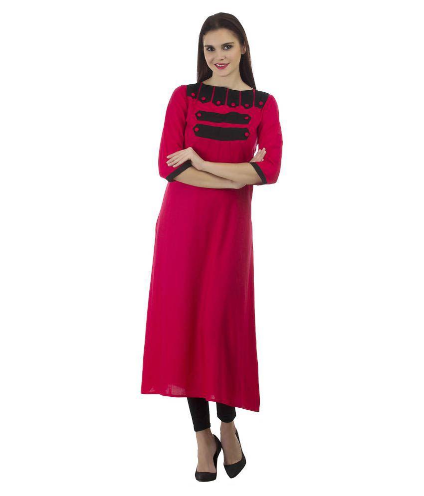 Kurti'S Red Rayon Straight Kurti