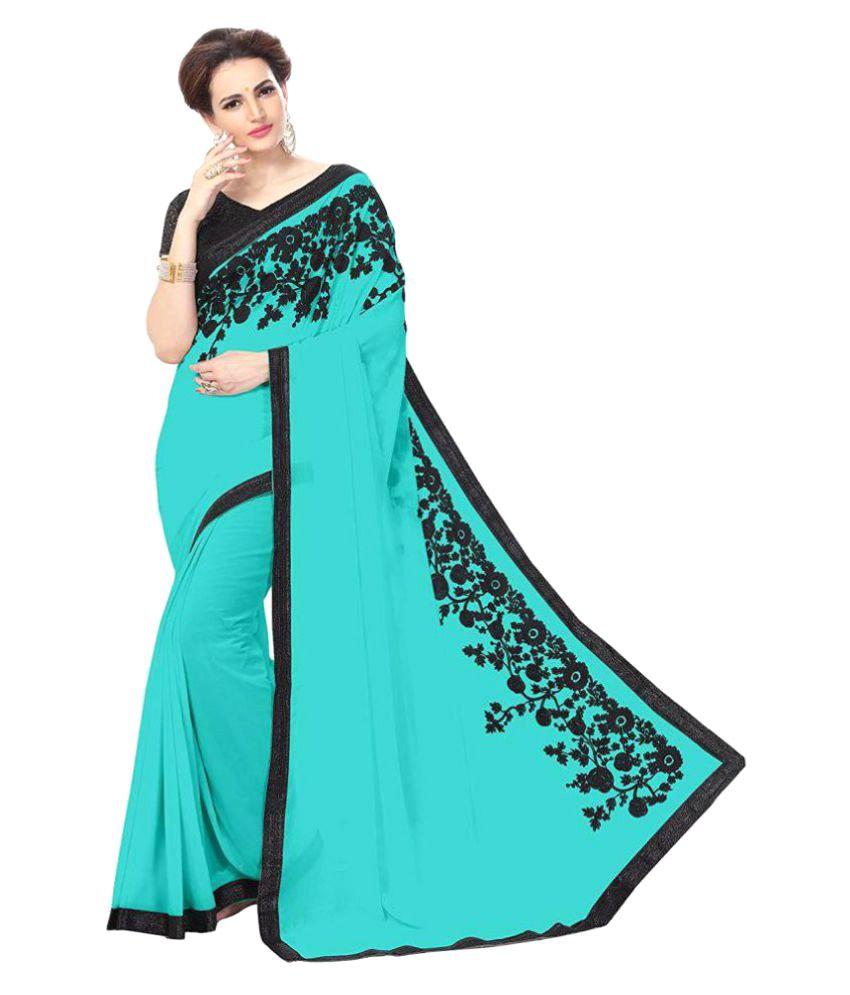 Jagdamba Textiles Turquoise Georgette Saree
