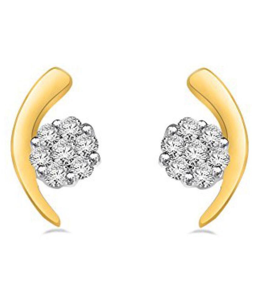 Sparkles 18K 2 Colour Gold and Diamond Stud Earrings