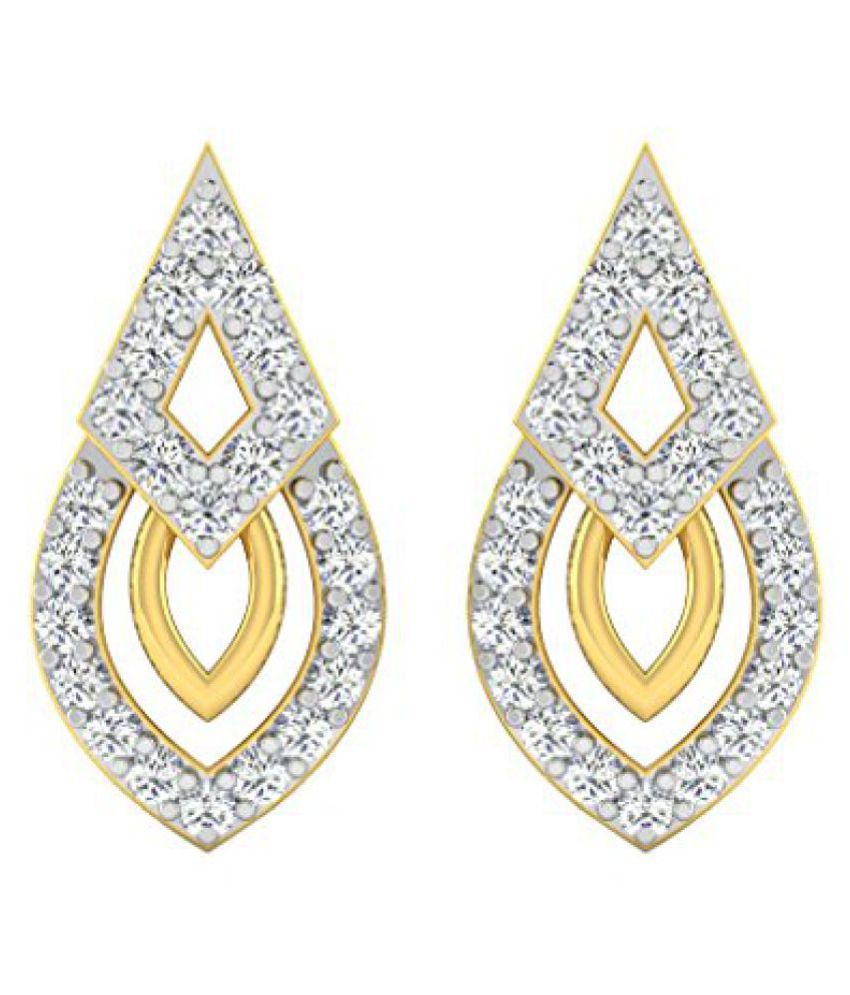 Sparkles 18k Yellow Gold and Diamond Hoop Earrings