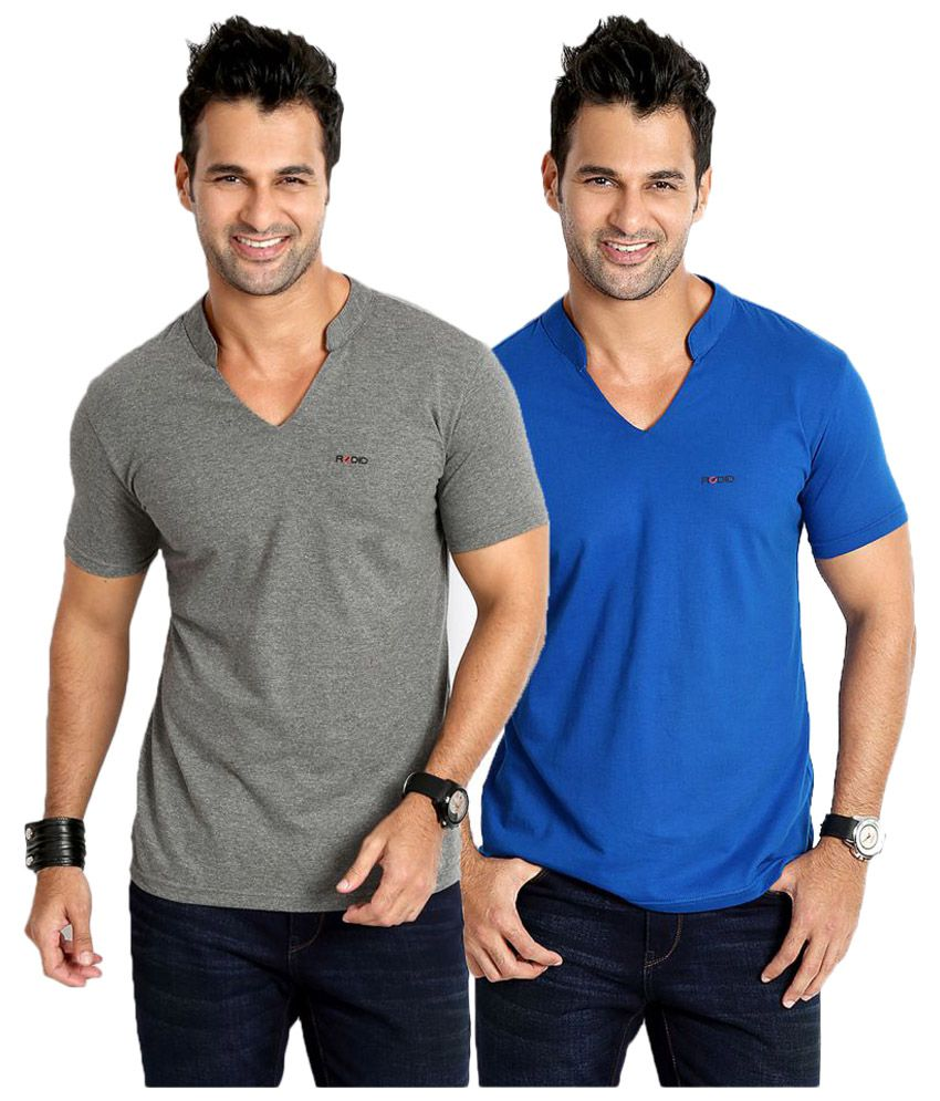 Rodid Multi V-neck T-Shirt Pack of 2