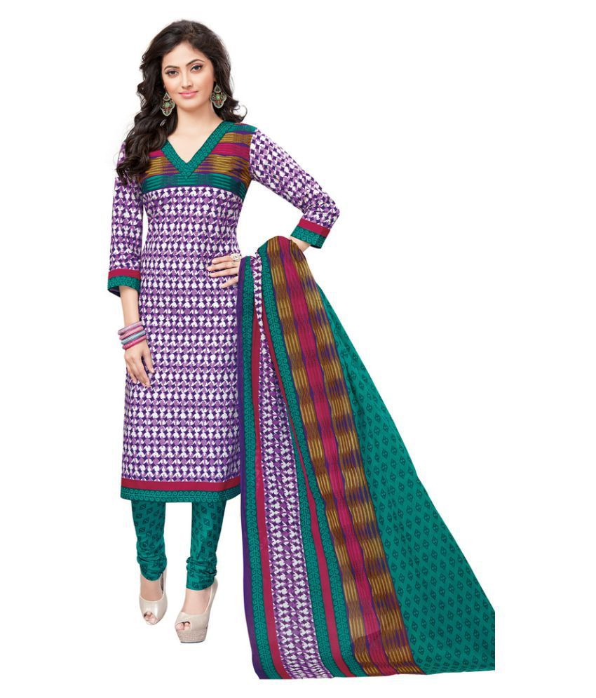 Salwar Studio Purple Cotton Dress Material