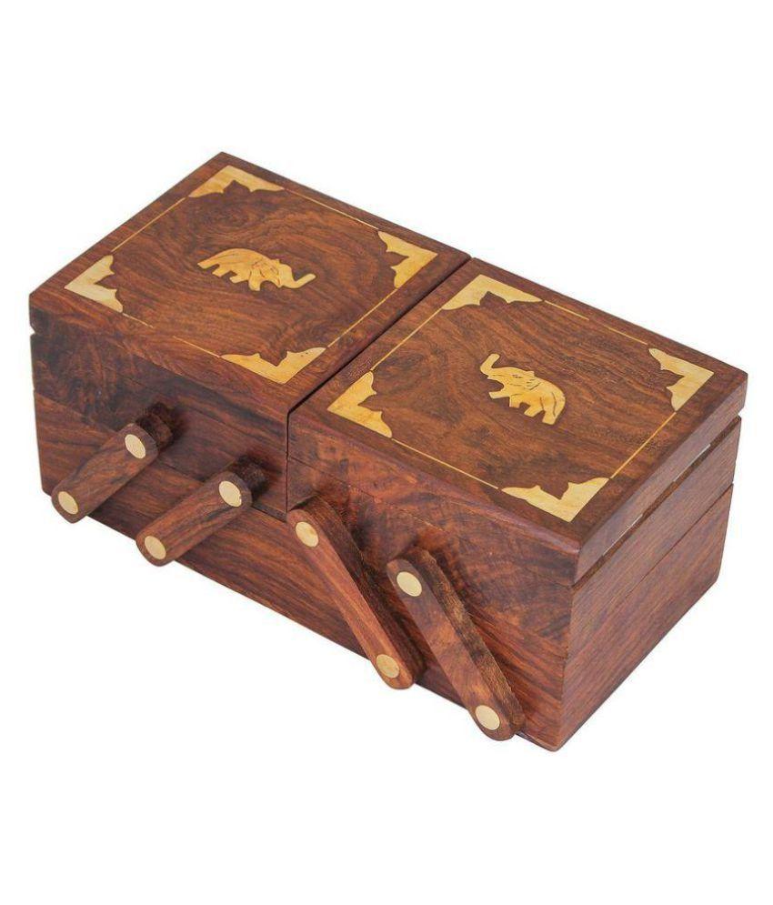Desi Karigar Brown 3 In 1 Wooden Jewellery Box