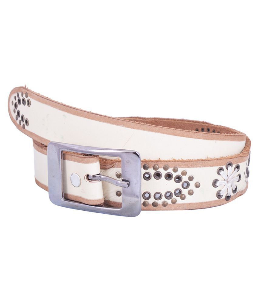 Dreamship White Leather Party Belts