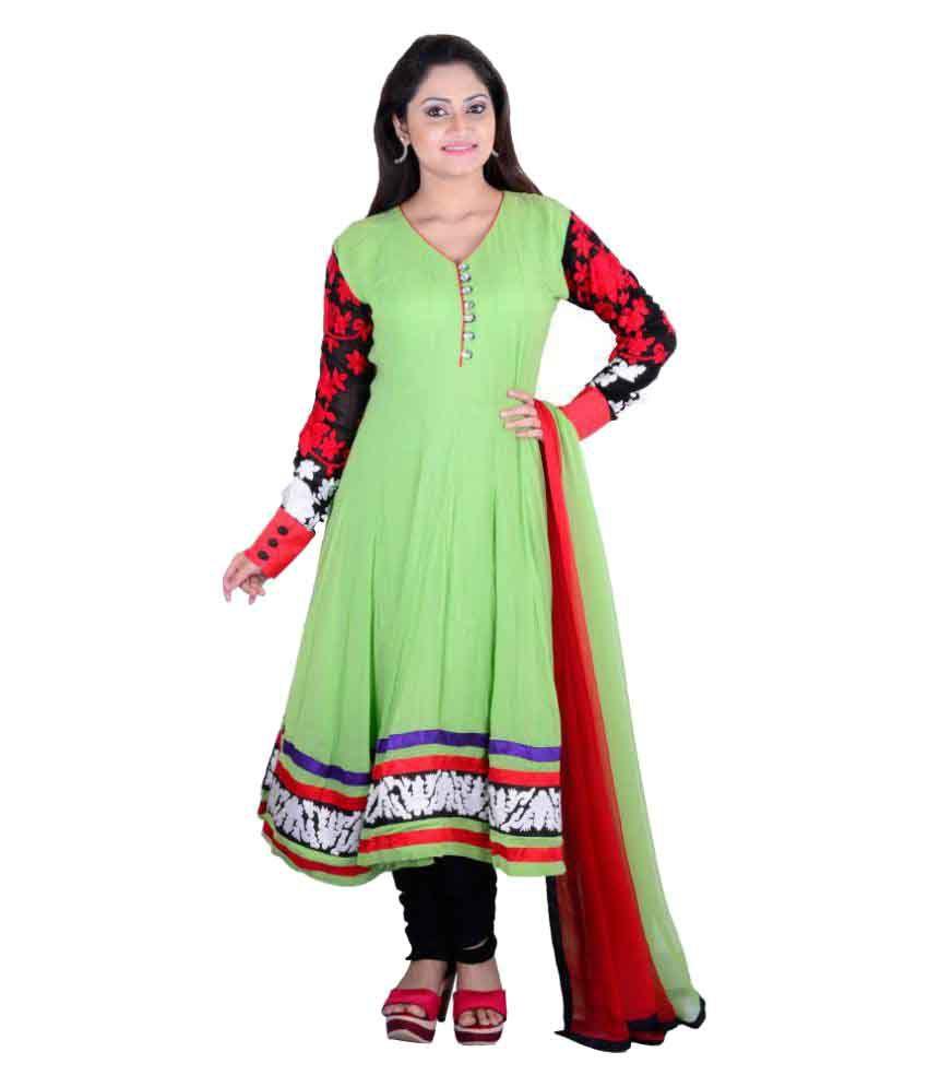Smuk Green Georgette Anarkali Stitched Suit