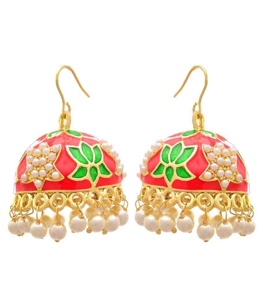 JFL - Jewellery For Less Ethnic One Gram Gold Plated Pearl Meenakari Designer Jhumki Earring for Women