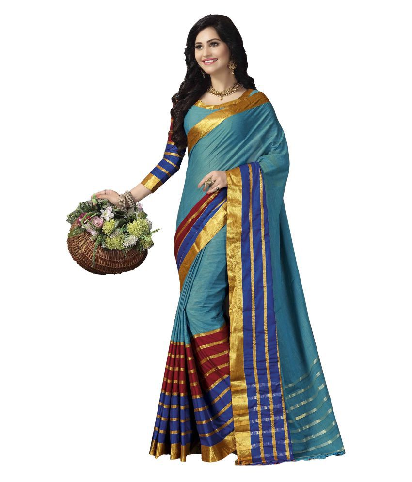 Aarti Apparels Blue Cotton Saree