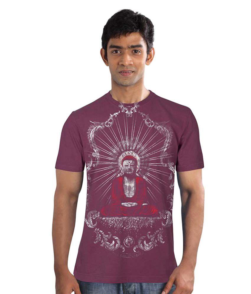 Huetrap Maroon Round T-Shirt