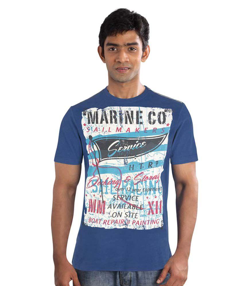 Huetrap Navy Round T-Shirt