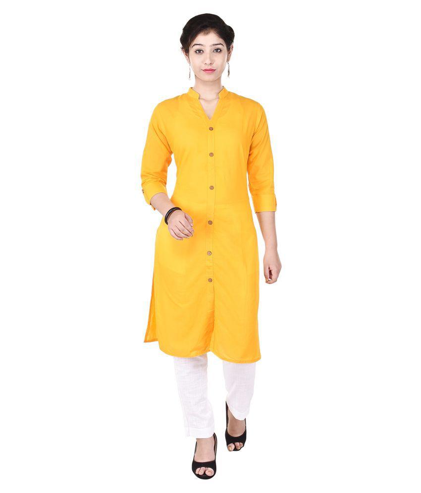 Vasavi Yellow Cotton Straight Stitched Suit