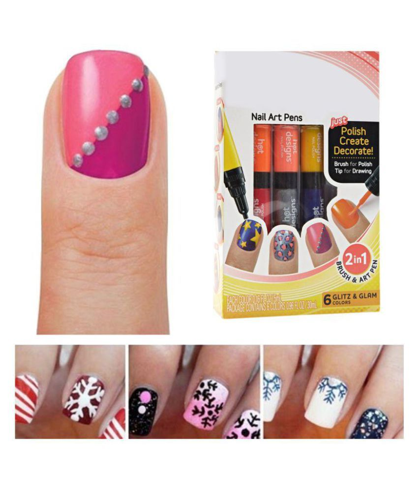 Ace Distributors Hot Designs 6 Glitz Glam Colors Nail Art Pens