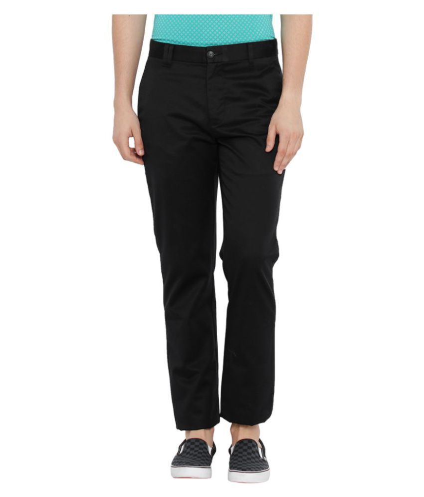 Parx Black Regular Flat Trousers