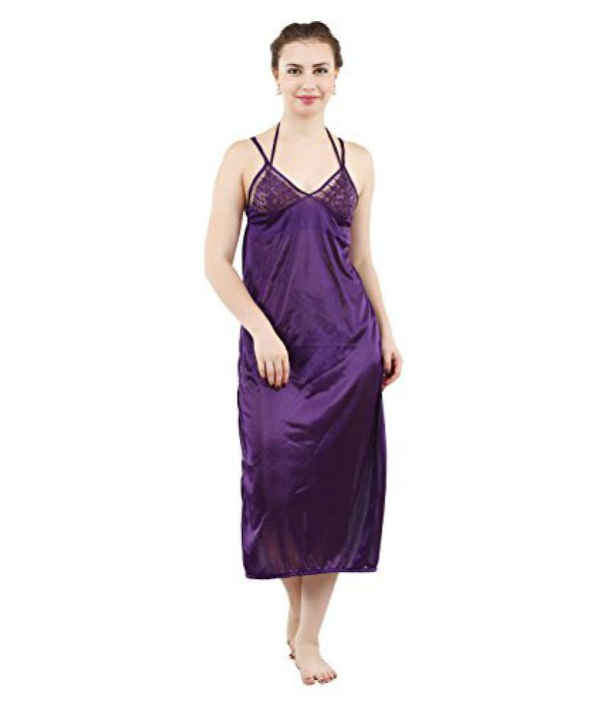 802a8b60cea Buy Romaisa Women s Satin Nightwear Set of 4 Pcs Nighty